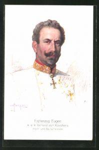 Künstler-AK Portrait Erzherzog Eugen von Österreich, General der Kavallerie, Hoch- und Deutschmeister
