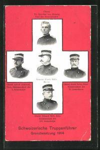 AK Grenzbesetzung 1914, Schweizerische Truppenführer, General Ulrich Wille, etc.