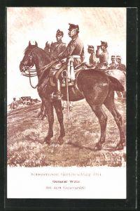 AK General Wille mit dem Generalstab, Schweizerische Grenzbesetzung 1914