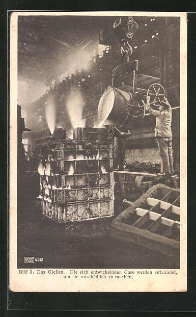 AK Werdegang eines Lokomotivzylinders, Bild 3: Das Giessen, Fabrikarbeiter
