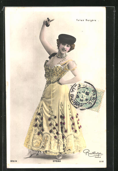 AK Portrait der Tänzerin Otero mit Kastagnetten