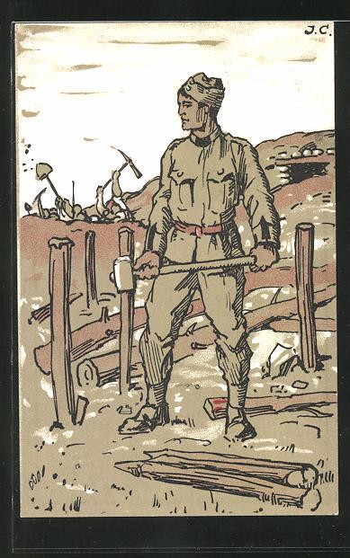 Lithographie schweizer Soldat mit Hammer baut einen Schützengraben