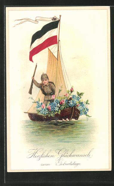 Lithographie Kind im Uniform mit Gewehr auf Boot mit Blumenschmuck, Reichskriegsflagge, Geburtstagsgruss