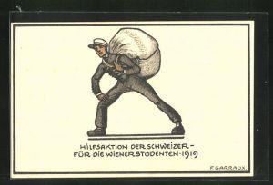 AK studentische Szene, Hilfsaktion der Schweizer für die Wiener Studenten 1919, Mann mit Sack auf dem Rücken