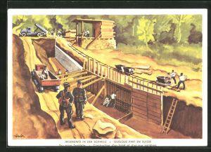 AK schweizer Soldaten beim Bau einer Tankstelle