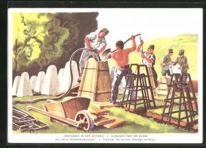 AK schweizer Soldaten beim Bau eines Höckerhindernisses