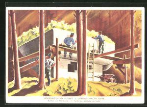 AK schweizer Soldaten beim Bau eines Bunkers am Waldrand