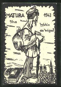 AK Absolvia, Matura 1943, Barfüssiger Wanderer mit Rucksack und Stock,
