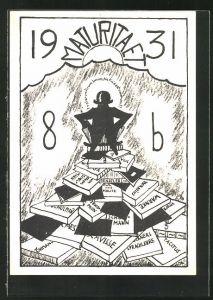 AK Absolvia, Maturitaet 1931, Absolvent auf einem Bücherstapel blickt in die aufgehende Sonne