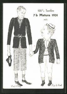 AK Absolvia, Matura 1931, zwei Männer mit zu kurzer Kleidung halten sich an den Händen