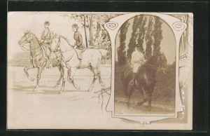 Foto-AK Reitersoldat im Passepartout, Paar beim Ausritt