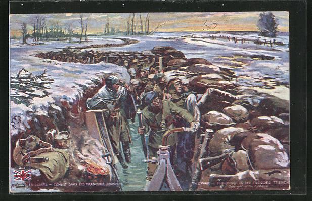 AK Britische Soldaten warten im Schützengraben auf das Gefecht