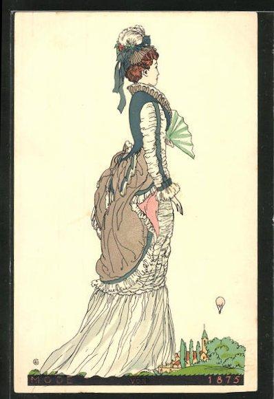 Künstler-AK sign. E. Grimmer: Dame mit Fächer im eleganten Kostüm, Mode