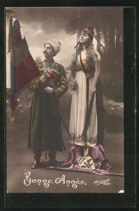 AK Bonne Annee, russischer Soldat mit Fahne, Mädchen mit Schwert, Propaganda Entente