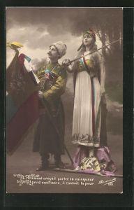 AK Soldat mit Fahne, Mädchen mit Schwert, Propaganda Entente