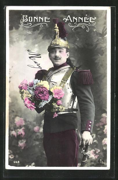 AK Bonne Annee, Soldat der Kavallerie mit Pickelhaube