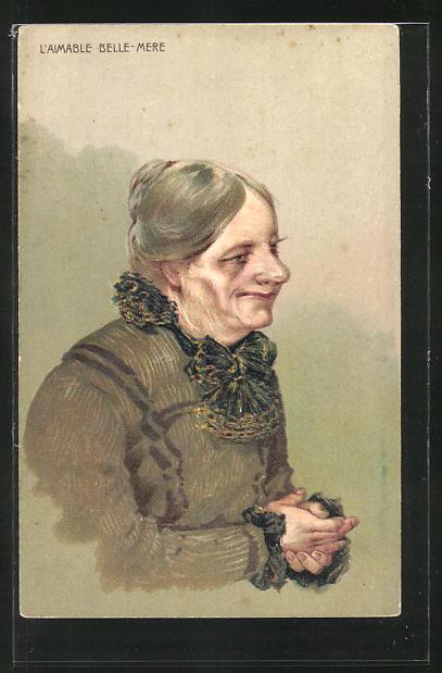Präge-Lithographie L'Aimable Belle-Mere, Schwiegermutter, Scherz