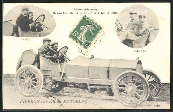 AK Autorennen Grand Prix de l'A. C. F. 1908, Pierron sur voiture Motobloc