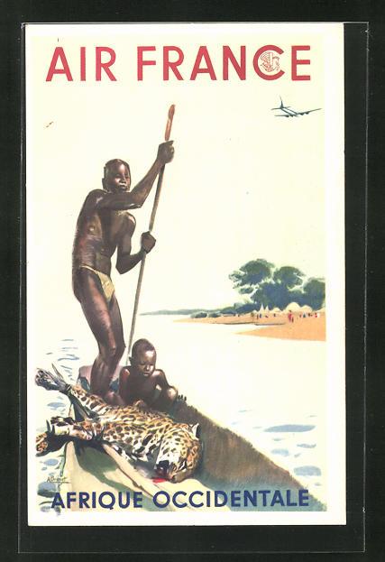 Künstler-AK Tourismus-Werbung der Air France für Flüge nach Afrika, Afrikaner mit erlegtem Leoparden