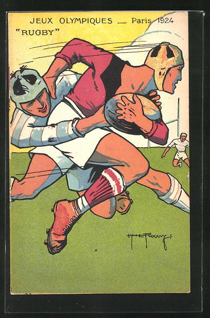 Künstler-AK Paris, Jeux Olympiques 1924, Rugby