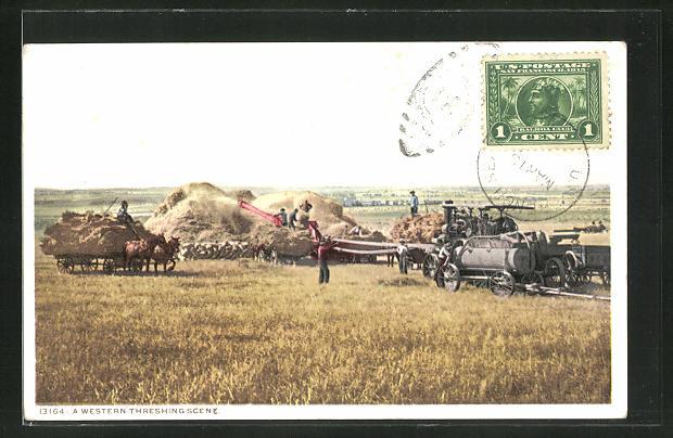AK A Western Threshing Scene, Lokomobil