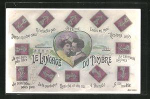 AK Briefmarkensprache, a Bientot, Je te pardonne, Je ne suis pas libre