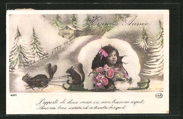 AK Mädchen mit Blumen und Eichhörnchen auf einem Schlitten, Neujahrsgruss