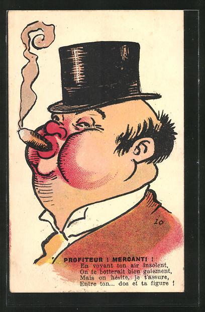 AK Dicker Mann mit Zigarre und Hut