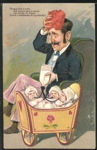 Präge-AK Mann gibt drei Babys in der Wiege die Flasche