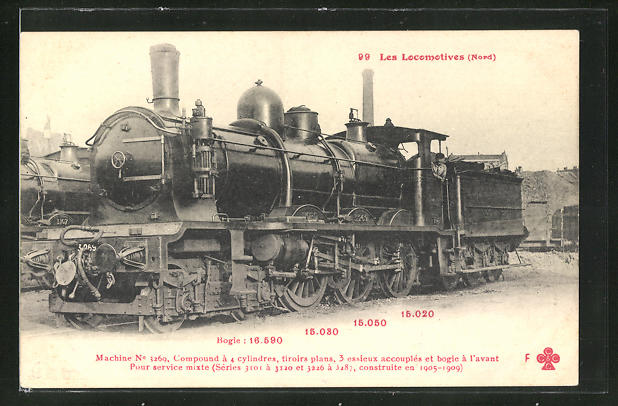 AK Französische Eisenbahn-Lokomotive, Machine No 3269