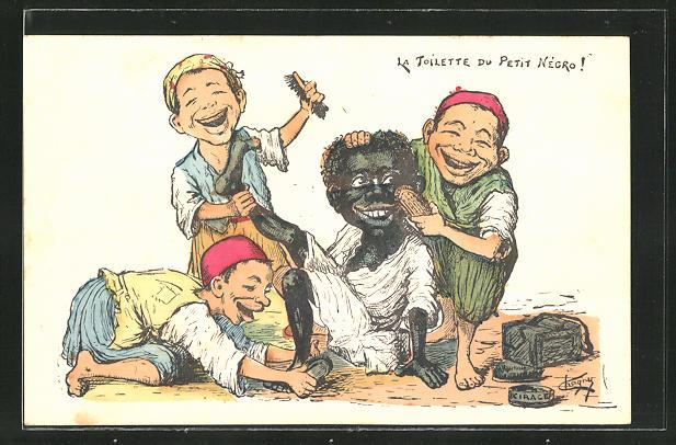 AK Schuhputzer mit Bürsten und afrikanischer Junge