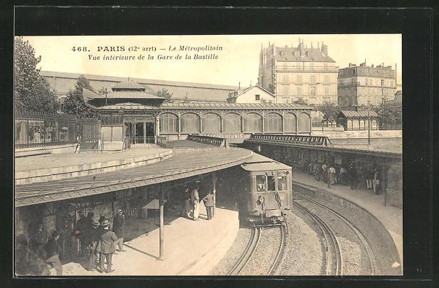 AK Paris, Le Metropolitain, Vue interieure de la Gare de la Bastille