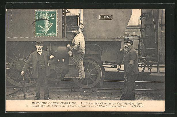 AK Histoire Contemporaine, Eisenbahner an einer französischen Lokomotive