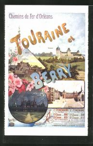 Künstler-AK Tourismus-Werbung der Chemins de Fer d'Orléans, Touraine et Berry
