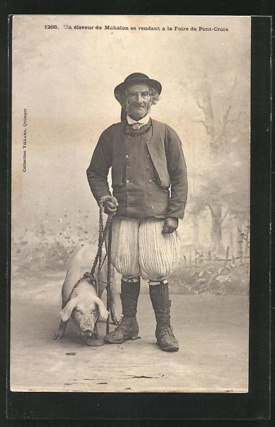 AK Alter Pilzsucher mit Trüffelschwein im Wald von Pont-Croix