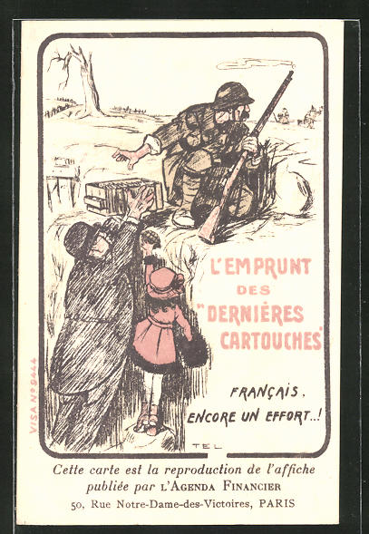 Künstler-AK L'Emprunt des Dernières Cartouches, Französische Kriegsanleihe
