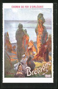 Künstler-AK Tourismus-Werbung der Chemin de Fer d'Orléans für Reisen in die Bretagne