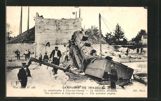 AK Lizy-sur-Ourcq, verunglückte Eisenbahn