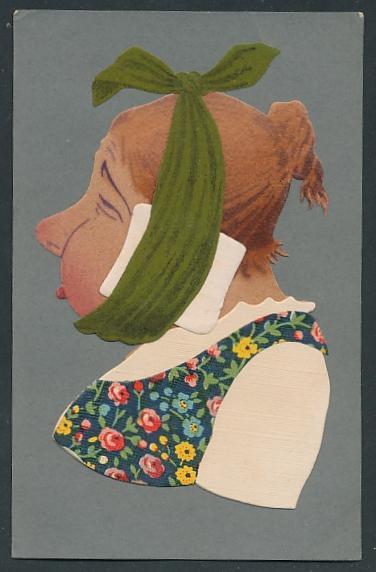 Filz-AK Frau mit Zahnweh aus Filz