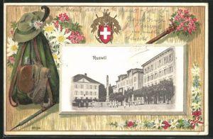 Präge-AK Ruswil, Hauptplatz mit Mariensäule