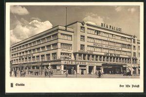 AK Stettin, Strassenpartie am Ufa Palast