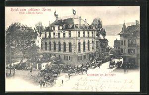 AK Erlenbach am Zürichsee, Pferdekutschen am Hotel zum goldenen Kreuz