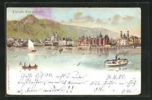 Lithographie Zürich, Zürich See mit Dampfer, Gebirge und Teilansicht vom Wasser auf Zürich