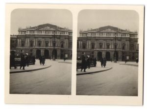 Stereo-Fotografie unbekannter Fotograf, Ansicht Mailand, Scalatheater