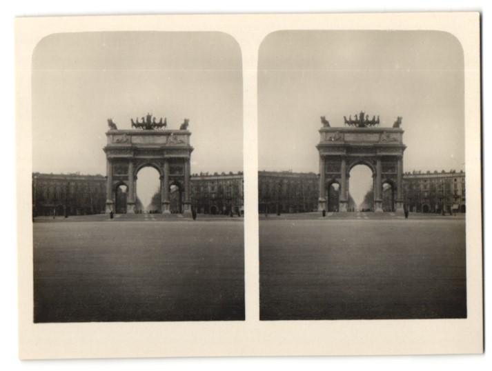 Stereo-Fotografie unbekannter Fotograf, Ansicht Mailand, Siegesbogen
