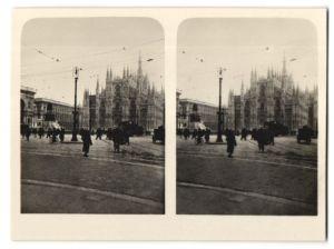 Stereo-Fotografie unbekannter Fotograf, Ansicht Mailand, Dom