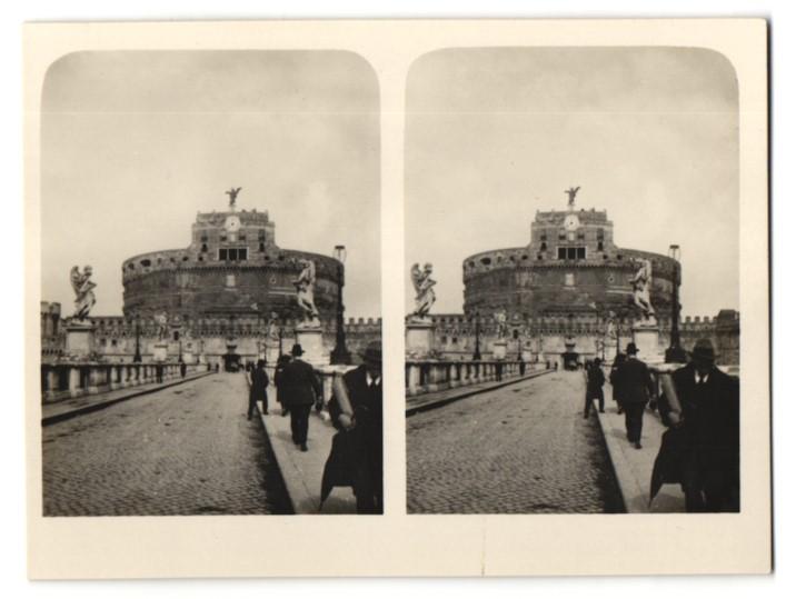 Stereo-Fotografie unbekannter Fotograf, Ansicht Rom, Engelsburg