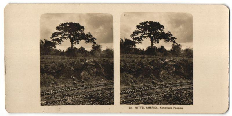 Stereo-Fotografie unbekannter Fotograf, Ansicht Panama, Kanallinie