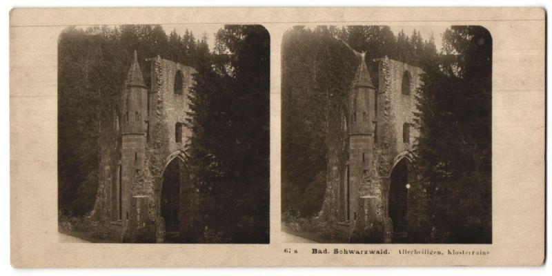 Stereo-Fotografie unbekannter Fotograf, Ansicht Allerheiligen, Klosterruine, Bad. Schwarzwald