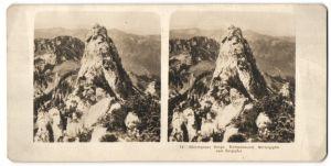 Stereo-Fotografie unbekannter Fotograf, Ansicht Chiemgauer Berge, Kampenwand, Mittelgipfel vom Ostgipfel